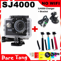 Daretang Not SJCAM  SJ4000 standard version 720p Waterproof Camera Motor Mini DV SJ4000 +car charger bracket+monopod