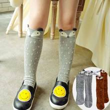 2015 hot Korean Kids Cute Cartoon Socks Baby Knee High Fox Pattern Girls Socks baby leg warmers meias calca infantil 3 Colors