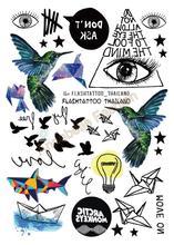 A6080-209 Big Black tatuagem Taty Body Art Temporary Tattoo Stickers Gradient Colorful Birds Eye Shark Glitter Tatoo Sticker(China (Mainland))