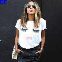 Red Lips Eyelash T Shirt Women Harajuku Female Models Tops 2015 Fashion Brand Women`s T Shirt Donna Camisas Mujer  3D Haut Femme