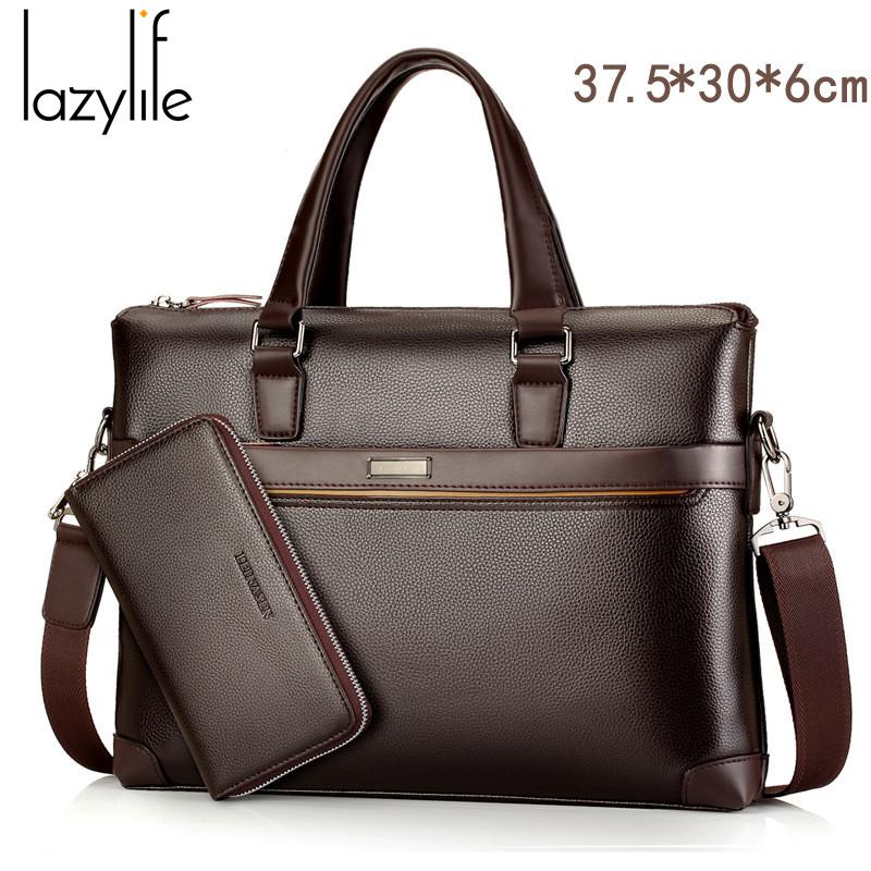LAZYLIFE Promotion Men's Handbag Famous Brand Business Men Briefcase Bag Luxury Leather Laptop Bag Man Shoulder Bag bolsa maleta(China (Mainland))
