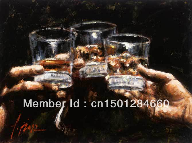 100% Handmade Study For Whiskey Fabian Perez Art Wine Paintings large modern oil painting on canvas wine glass home decors(China (Mainland))