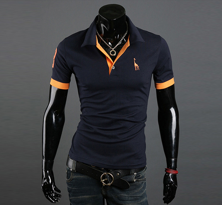 The Best Choice for Summer 2014 New Hot Selling Deer Embroidery Man Casual&Comfortable Simple Short-Sleeve Polo Shirts MTP027(China (Mainland))