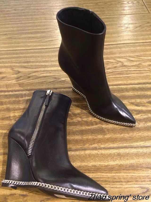 2015 new leather side zipper chain pointed bottom slope with boots comfortable boots<br><br>Aliexpress