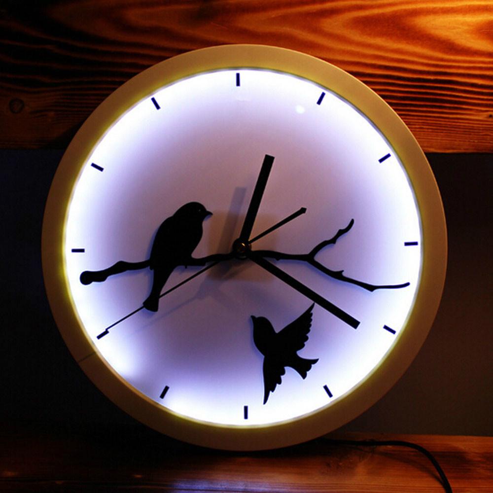 Silent Cute Bird LED Wall Clock Modern Design Wall Clocks Acrylic Modern Design  3D Desk Clock Silent Non-ticking Wall Clock(China (Mainland))