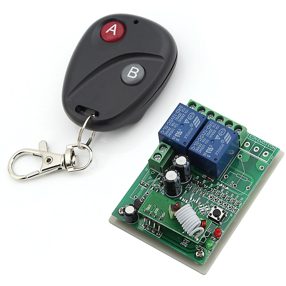 DC 12V 2 Channels  Smart Wireless Remote Control Switch Inching Self-locking Black Round Transmitter<br><br>Aliexpress