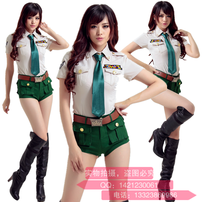 Special Army Green Policewoman Spy Airline Stewardess Cosplay Party Uniform Temptation Nightclub DS Show Stage Work Clothes(China (Mainland))