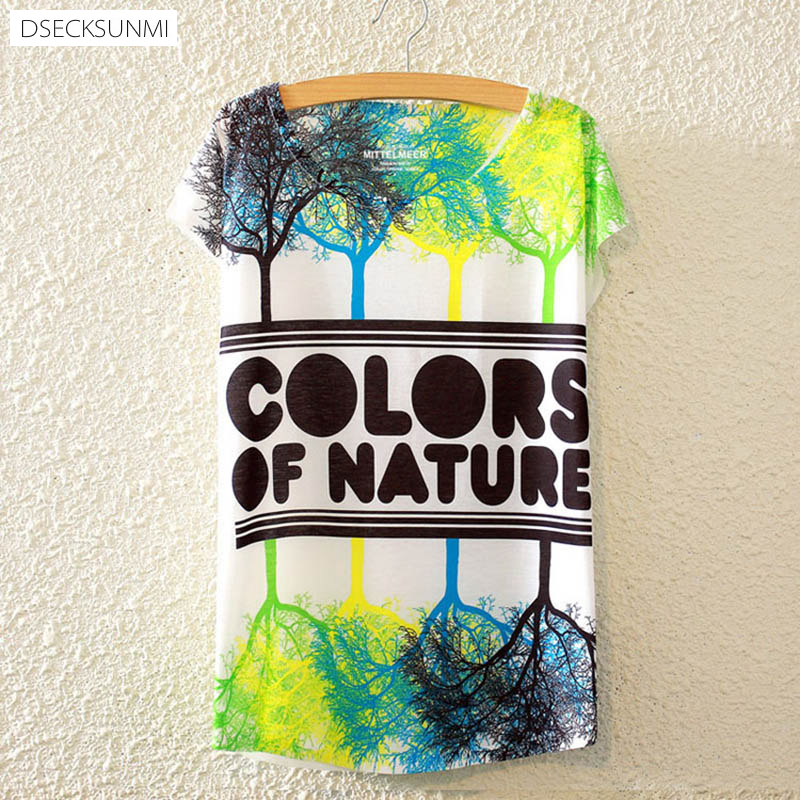 2016 Brand New Polyester T-Shirt Women Short Sleeve t-shirt o-neck Causal loose Colored trees t shirt Summer tops for women(China (Mainland))