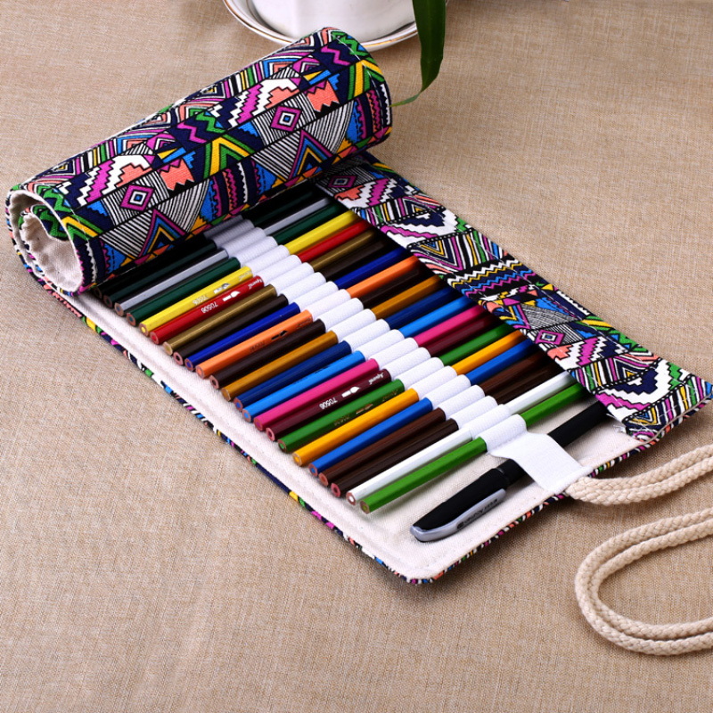 36 48 72 holes canvas roll up pencil case handmade pen bag for Canvas roll for painting