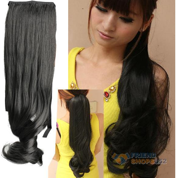 Гаджет  Faux Long Curly Lady Girl Wavy Ponytail Wigs Hair Hairpiece Extension Black #LD789 None Волосы и аксессуары