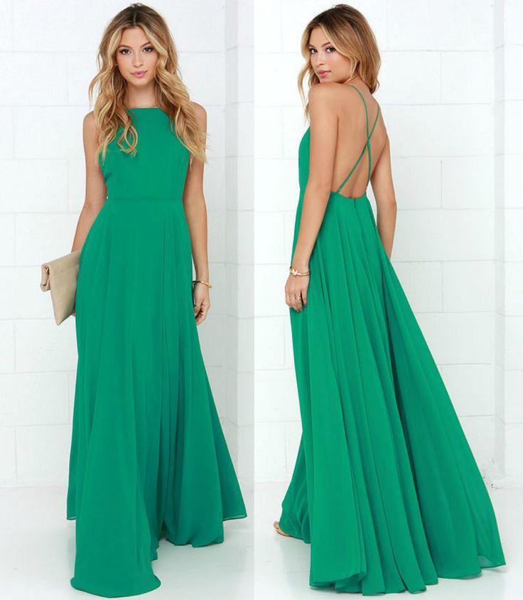 2015 Vestidos феста пляж шифон зеленый назад невесты платья оливковый зеленый невесты длинные платья