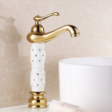Buy Free Euro Gold finish Luxury tall Bathroom Basin Faucet Single Handle Vanity Sink Mixer water Tap HJ-814K for $62.80 in AliExpress store