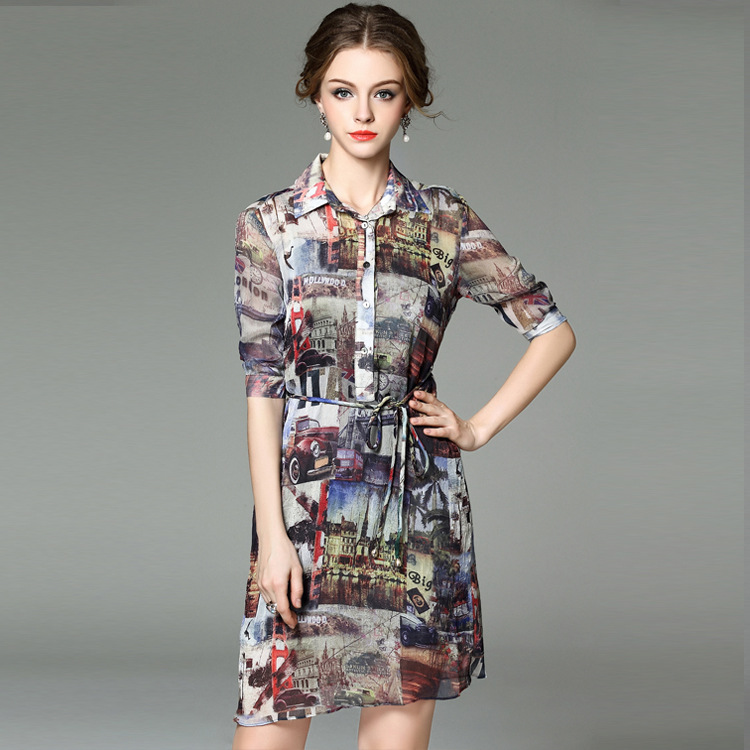 Europe station 2016 spring new female fashion Europe and America color landscape perspective seven points sleeve dress