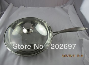 Hot Selling- Stainless Steel Cookware,one handle wok with full glass cover34cm