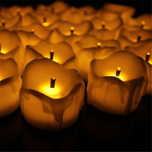 24pcs Flameless Yellow Flicker Tear Wax Drop Candle Mini Battery Operated Tea Lights New Arrive Realistic Led Tea Light Candle