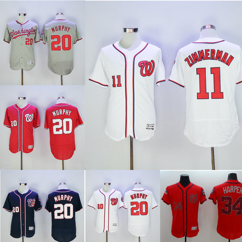 2016 New Fabric Mens Flexbase 20 Daniel Murphy 34 Bryce Harper Jersey shirt Color Red Blue Gray White Memorial Day Jerseys(China (Mainland))
