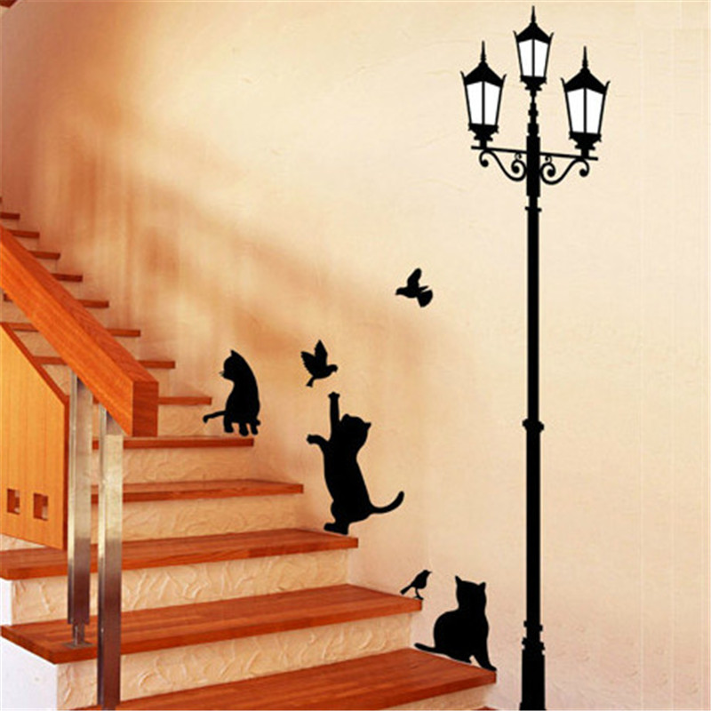 Lamp Cats Kitty Kitten Fashion Vinyl Mural Decal Wall Sticker stickers poster for kids rooms Glass Window Living Room Home(China (Mainland))
