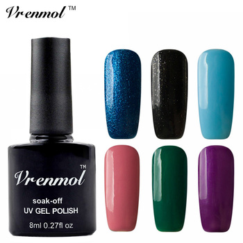 Vrenmol 1pcs 8ml Long Lasting Soak Off Uv Gel Nail Polish Gel Paints Varnish Semi Permanent Top Base Coat Gel Lacquer