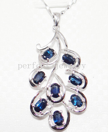 Sapphire pendant Natural sapphire charm pendants 925 sterling silver #15042302