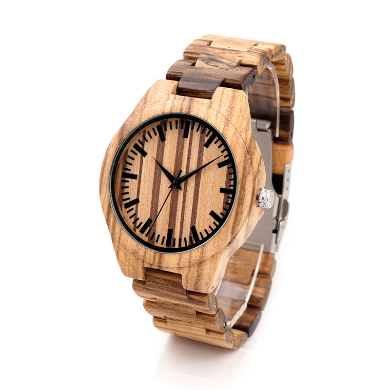BOBO BIRD G24 Mens Zebrawood Wooden Watch with Wood Strap Quartz Analog with Quality Miyota Movement Tri-Fold Clasp
