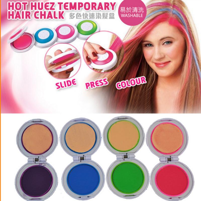 Hot Sale Hair Chalk Powder 4 Colors Round Shape Temporary Hair Dye Blue Green Pink Purple Hair Chalk-Set Easy Use As Seen On TV(China (Mainland))