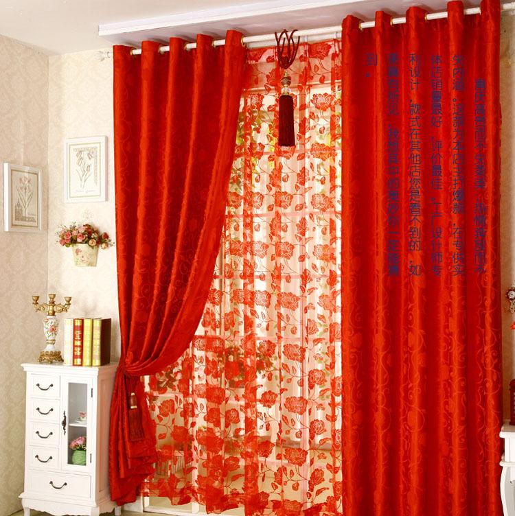 2014 nueva jacquard cortina cortinas de color rojo rojo for Cortinas transparentes