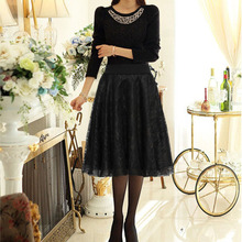 2016 Spring Fashion New Sexy Lace Women Long Skirt Tulle Lace Black Pleated Print Maxi High Waist Skirt Puffy Skirts Plus Size