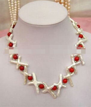 "1563 Fashion jewelry 18"" WHite Keshi Pearl & Red Coral Necklace(China (Mainland))"