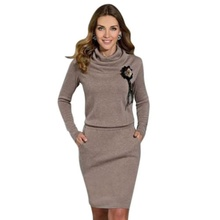 Fashion Women Lady Autumn Spring Casual Dress Long Sleeve Party Knitted Dress(China (Mainland))