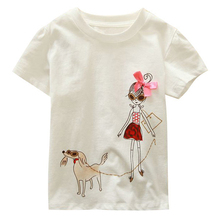 Brand New 18 Months-6T Baby Girls T-Shirt Summer Children's Tops Clothing Cute Cartoon Baby Girl And Dog Creative T-Shirt