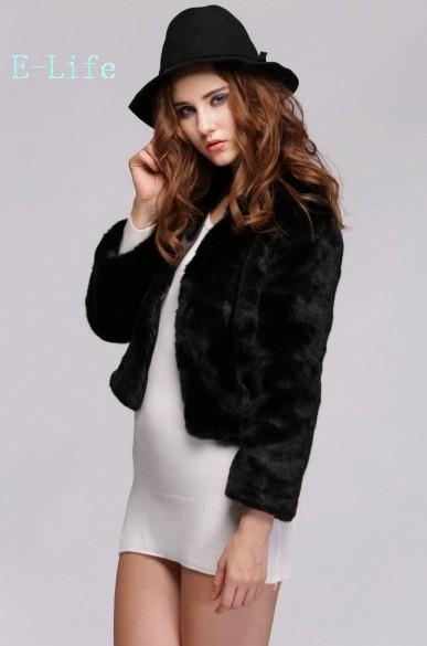 Fashion 2015 New Fur Coat Women Solid Long Sleeve Warm Faux Fur Coats Short Jackets Black White Casual Coat 25(China (Mainland))