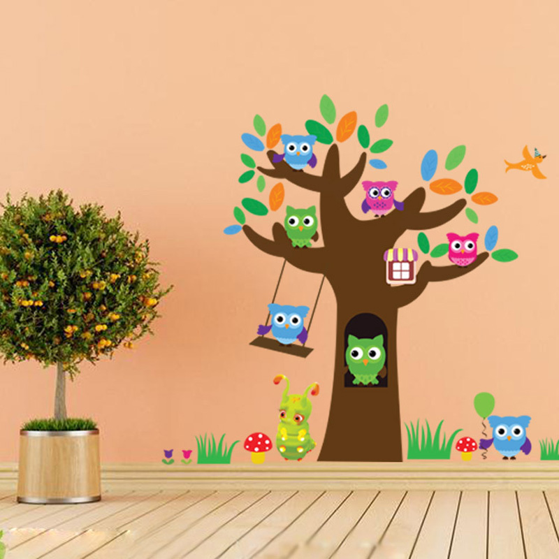 Personalized Owls Tree Cute Pattern Decoration Stickers Children Living Room Cartoon Removable Wall Decals Free ShippingXHH05610(China (Mainland))