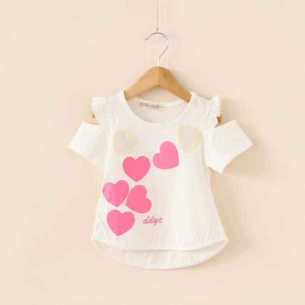 4pcs/lot 2015 summer hot sale girls fashion off-shoulder heat t shirt kids Korean design tops 1731(China (Mainland))