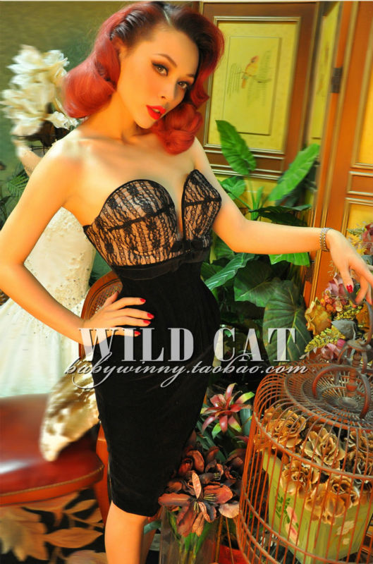 FREE SHIPPING WILD CAT vintage sexy deep V Low-cut black lace bodycon dress/high quality /Complex craft(China (Mainland))