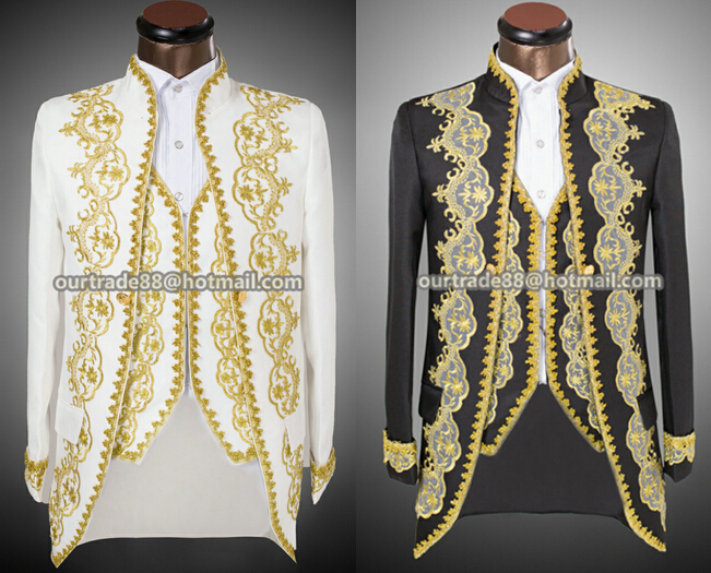 Vogue Palace style Gold embroidery men Tuxedos Classic Groomsmen Men Wedding Suit(Jacket+Pants+vest) white black actual pictures(China (Mainland))