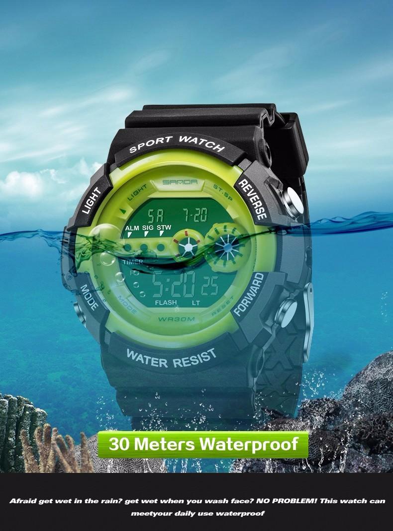 SANDA Luxury Brand Mens Sports Watches Dive 50m Digital LED Military Watch Men Fashion Casual Electronics Wristwatches Hot Clock