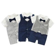 2017 Newborn baby boy suit 95% cotton tie gentleman suit leisure suit child's body suit baby boys clothes 3-24M S2(China (Mainland))