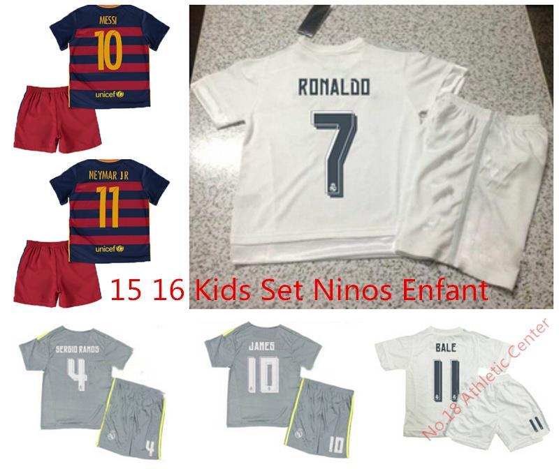Real Madrid Kids 2016 Messi Ronaldo Children Kit Youth Set Shirt Short Camisetas Equipacion Real Madrid 2016 Kids Set(China (Mainland))