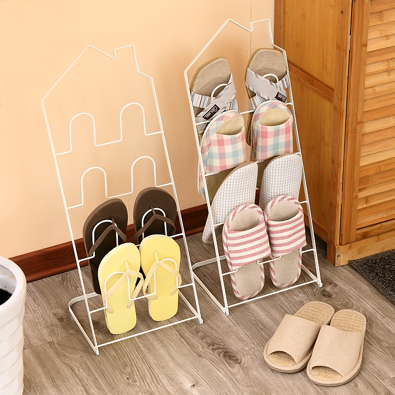 Cheap simple creative wrought iron shoe rack multilayer living room dust mini bedroom dormitory bathroom slippers(China (Mainland))