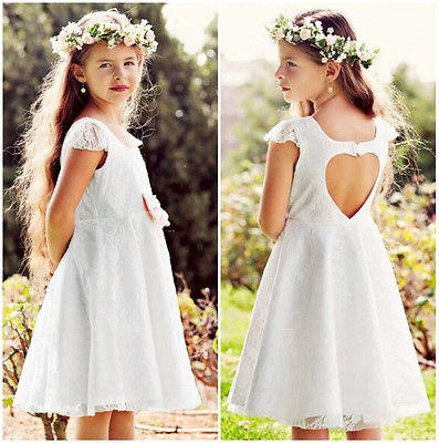 Baby Girls Dress Princess Party Wedding Lace Formal Dress Kids Dresses For Girl 2016 Summer Cap Sleeve Heart Cut Out Back Dress(China (Mainland))