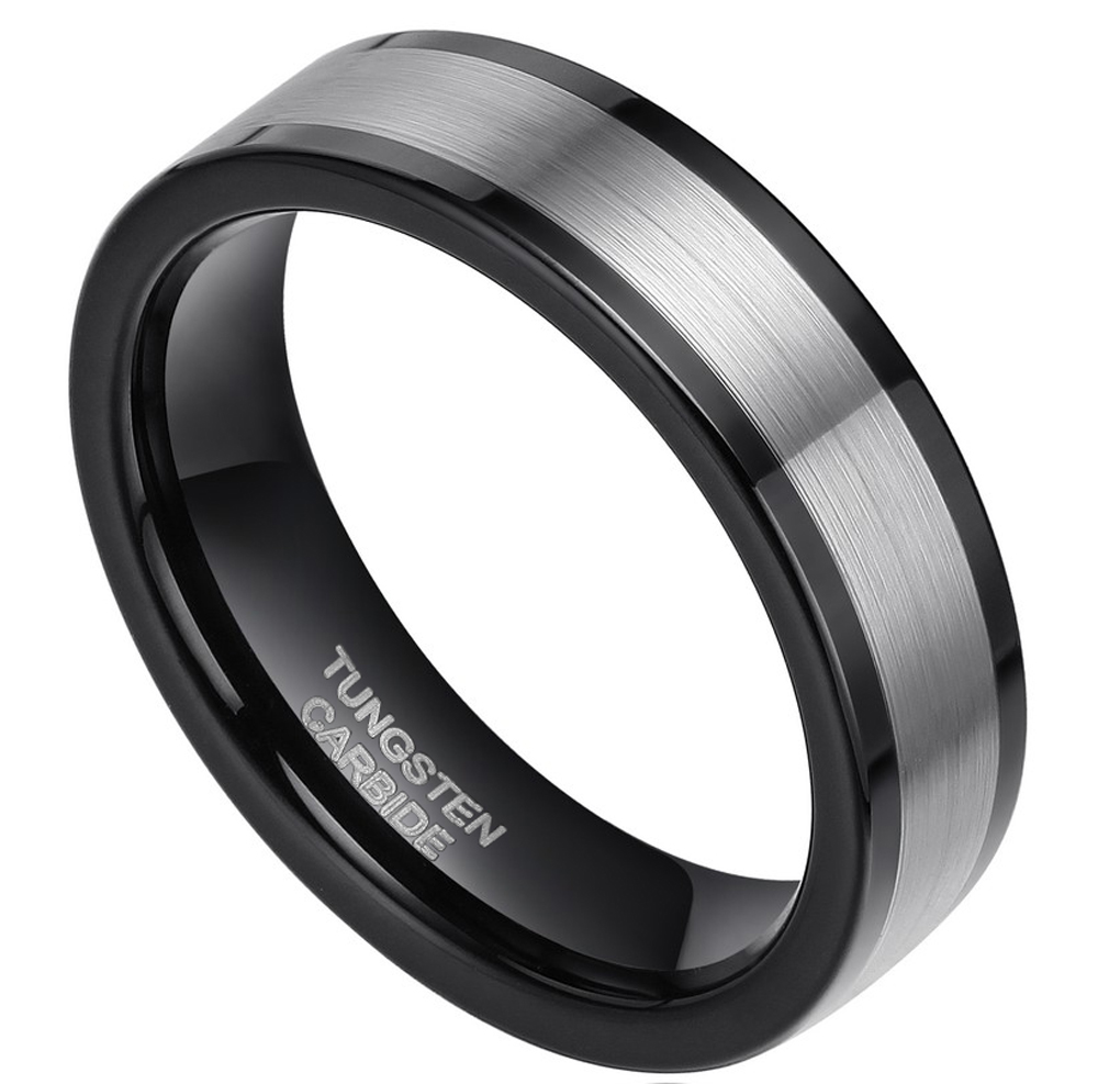 Men Wedding Band Tungsten Ring Fashion Jewelry Black and Silver Size 4 12 Fre