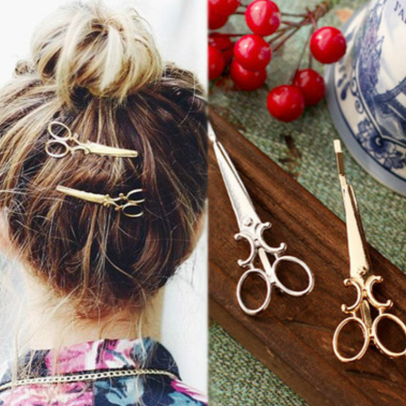 1 Pc 2016 new charm sweet gold / silver scissors-shaped hairpin bridal hair accessories wedding hair accessories, hair clips(China (Mainland))