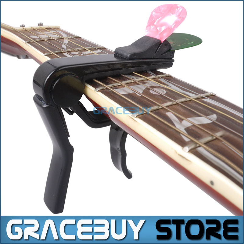 Alice Black Capo For Acoustic/ Electric/ Classical Guitar, Cappo On Guitarra With Pick Holder New(China (Mainland))