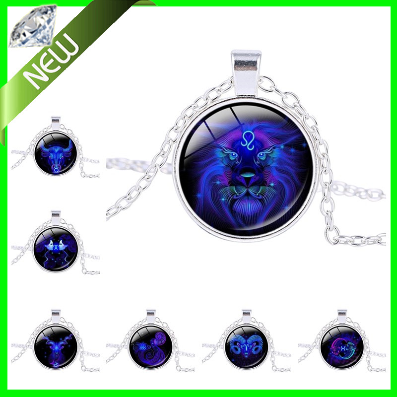 Aries Necklace Signs 12 Star Zodiac Constellation Pendant Horoscope Astrology Disc Necklace Blue Galaxy Libra Virgo Jewelry(China (Mainland))