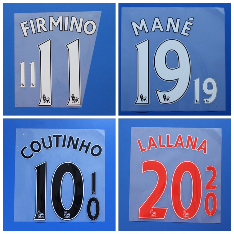 2016 2017 Premier League MILNER LALLANA COUTINHO FIRMINO MANE HENDERSON custom football number font print ,Soccer patch badge(China (Mainland))