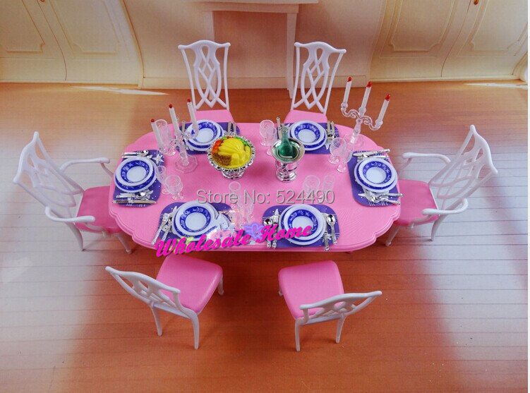 Blue & White Dining Table Set / Dollhouse Dining Room Furniture Saucer Chair Accessories for Barbie Kelly Ken Doll Girls Gift(China (Mainland))