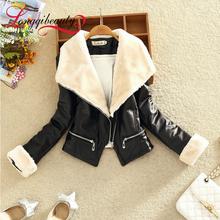 2015 Autumn Winter Women New Brand Faux Soft Leather Jackets Pu Black Coat Side Zipper Slim Big Fur Collar Lapel Jackets M-L(China (Mainland))