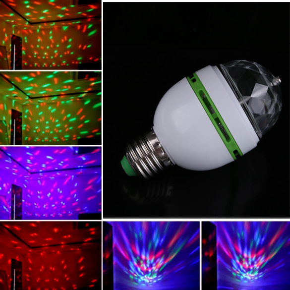 E27 3W Colorful Auto Rotating RGB LED Bulb Stage Light Party Lamp Disco#BSEL(China (Mainland))