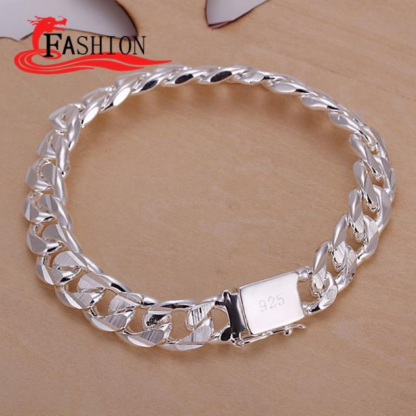 Hot sale 925 sterling silver bracelet men Hidden-safety-clasp Link Chain bracelets bangles arm jewelry Top Quality new Fashion(China (Mainland))