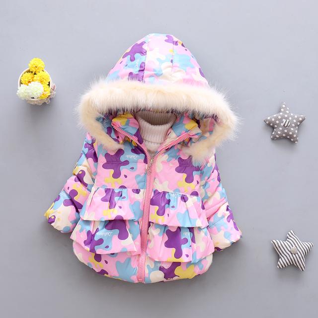 Мода 2016 New baby девушки пальто новорожденных зимний пиджаки толстые теплые Куртки детские детская одежда Хлопка мягкой одежды